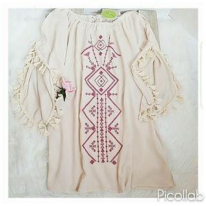 Dresses & Skirts - Off-Shoulder Cream w/Tassle Sleeve Tunic